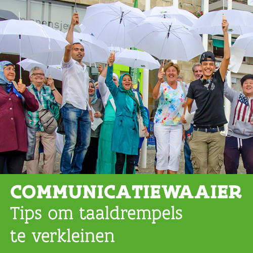 Knop. Communicatiewaaier. Tips om taaldrempels te verkleinen.