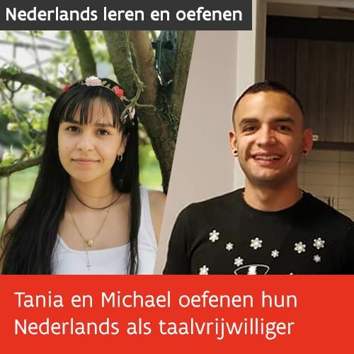 Knop. Tania en Michael oefenen hun Nederlands als taalvrijwilliger.